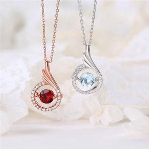 5mm Round Garnet/Topaz Halo Silver Pendant Jewelry